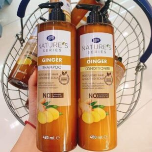 Set dầu gội xả Gừng Boots Nature's Series Ginger Shampoo 480ml